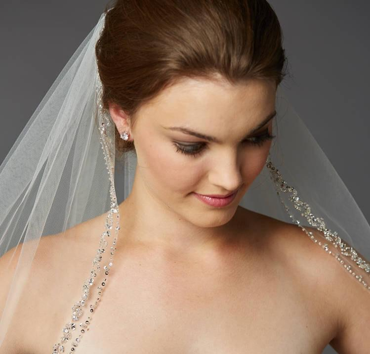 Wedding - Swarovski Crystal Wedding/Bridal Veil - Fingertip Length!  FREE DOMESTIC SHIPPING!