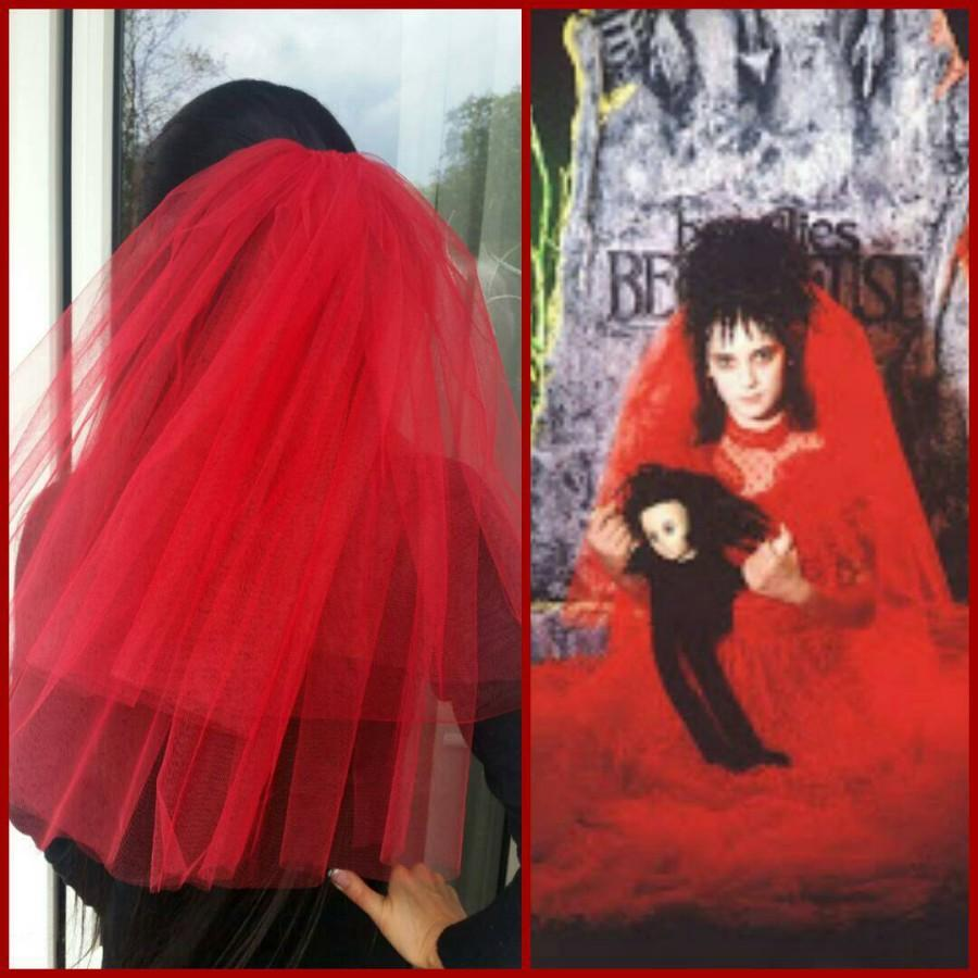 Свадьба - Halloween party Veil 2-tier red, Halloween costume idea. Lydia Deetz Halloween costume veil. Bachelorette veil, long length. Halloween night