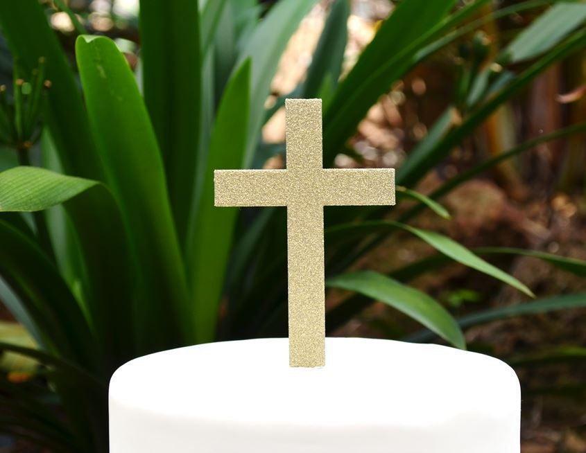 Wedding - Cross Christening Baptism Confirmation Cake Topper