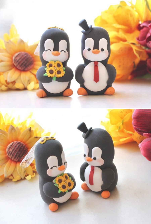 Wedding - Wedding cake toppers rustic country figurines animals penguins - bride groom cute funny elegant orange yellow sunflowers anniversary gift