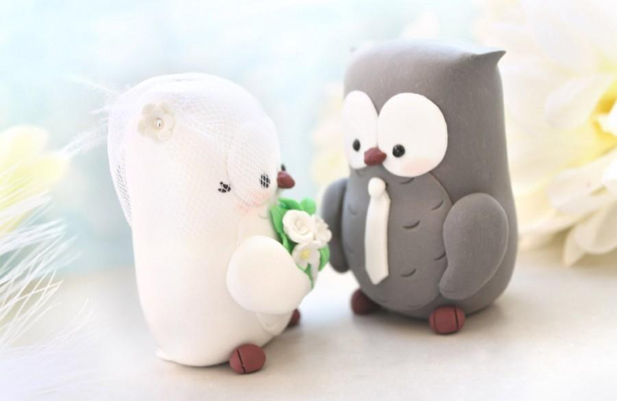 Mariage - Owls wedding cake toppers - unique personalized custom figurine bride groom elegant love birds bridal gift anniversary animal birdcage veil
