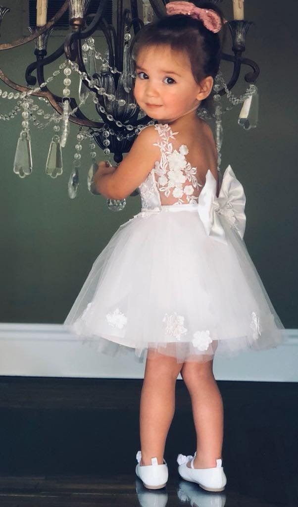 زفاف - Short flower girl dress white 3D lace gown