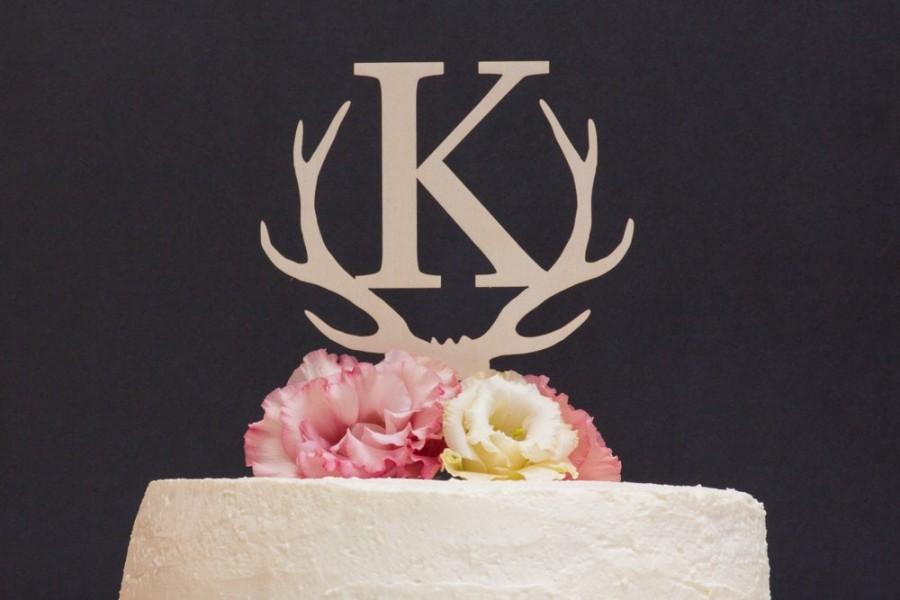 Mariage - Custom Antler Cake Topper, Deer Wedding Cake Topper, Single letter cake topper, Personalized Cake Topper, Rustic Wooden Cake Topper