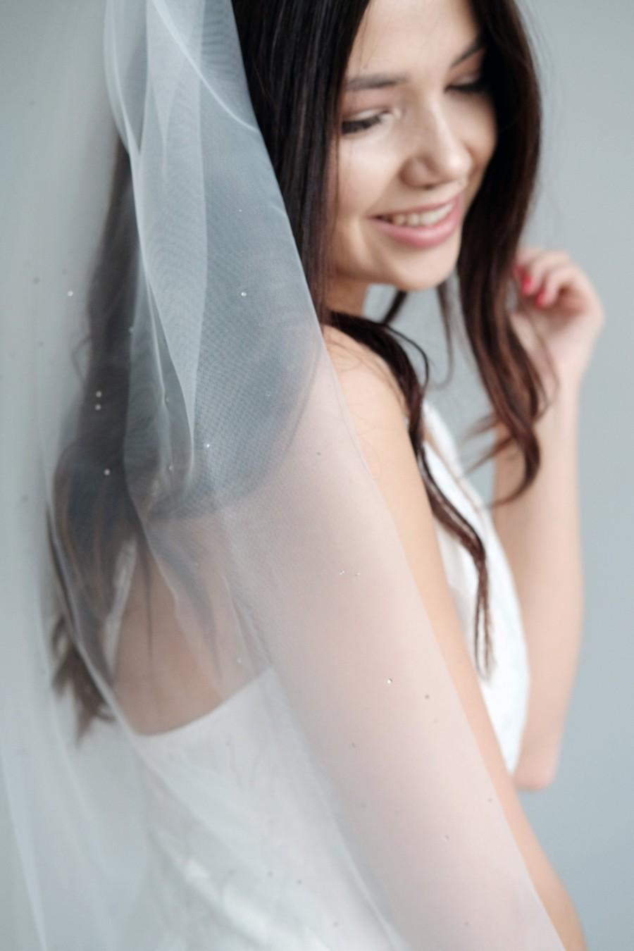 Свадьба - Crystal wedding veil, Bridal veil with crystals, Ivory wedding veil