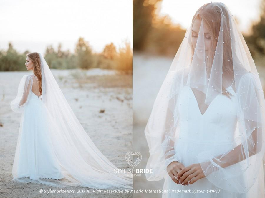 Свадьба - Pearl Cathedral Veil, Long Soft Tulle Veil With Pearls Embroidery, Boho Veil 2020