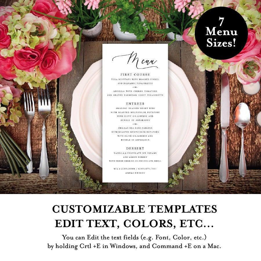Hochzeit - DIY Menu, Digital Download Menu, DIY Wedding, Dinner Menu, Event Menu DIY, Script Menu,