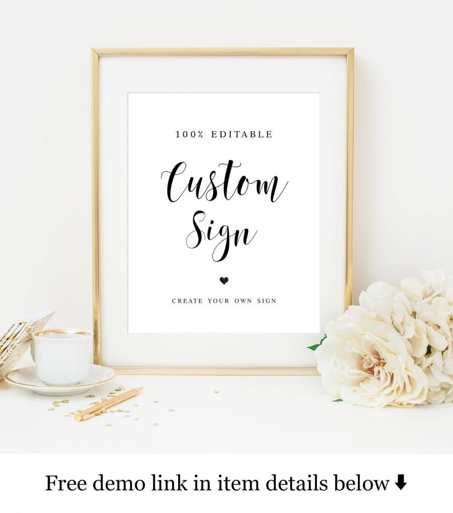 Wedding - Heart wedding sign Create your own poster Table top decor Custom Calligraphy Templett Instant download Printable 100% Editable text #vmt1111