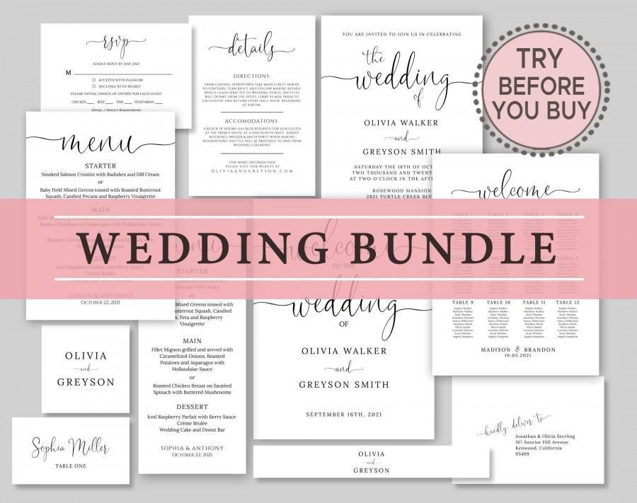 Mariage - Wedding Invitation Bundle, TRY BEFORE You BUY, Wedding Template Bundle, Invitation Suite, 100% Editable, Rustic Invitation Template, Diy