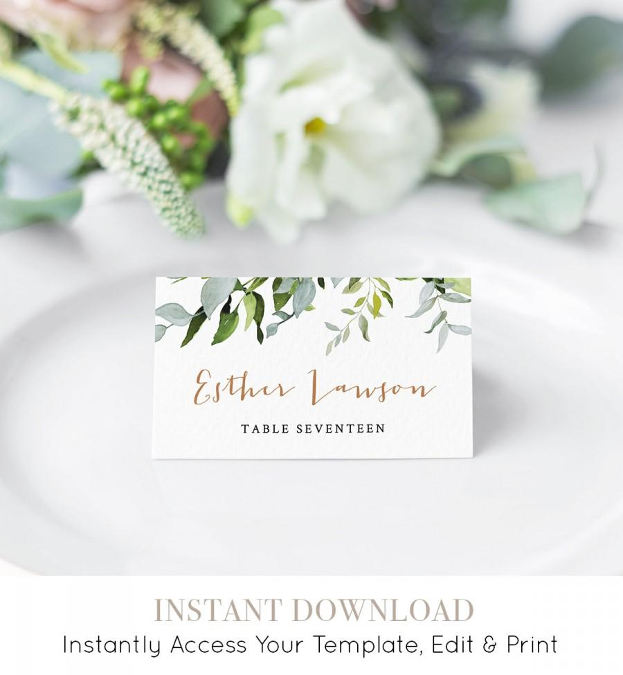 Mariage - Self-editing Place Card Template, Printable Wedding Escort Card, Name Card, Greenery Seating Card, INSTANT DOWNLOAD, Editable #016-107PC