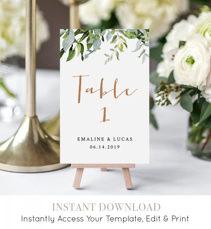 Mariage - Greenery Wedding Table Number Card, Printable Table Card, Flat & Folded, INSTANT DOWNLOAD, Editable Template, Boho Wedding  #016-118TC