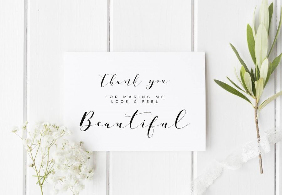 Mariage - Wedding Makeup Artist Card, Thank You Card For Hairdresser, Thank You For Making Me Look Beautiful, Card For Wedding Hair Stylist, Wedding