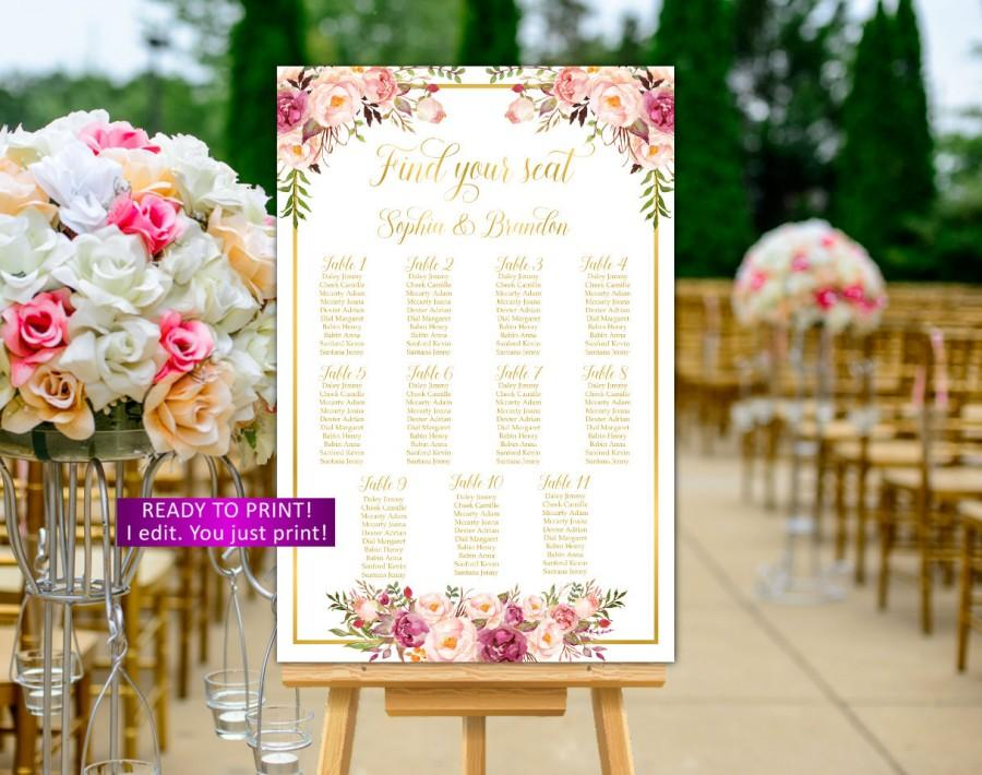 Mariage - Floral Wedding seating chart printable gold wedding seating chart printable Floral Wedding seating chart personalized alphabetical boho,31g