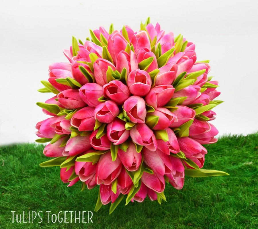 Свадьба - Hot Pink Real Touch Tulip Wedding Bouquet - Ready for Quick Shipment - 5 Dozen Tulips - Customize Your Wedding Bouquet - Bridal Bouquet