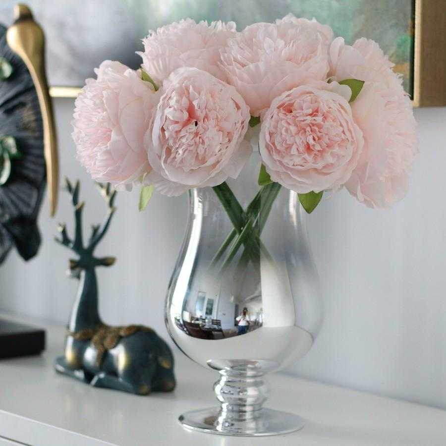 Hochzeit - Light Pink Silk Peony Bouquet Quality Wedding Flowers 5 Heads Artificial Peonies Bouquet For Bridal Bridesmaids DIY Flowers Centerpieces