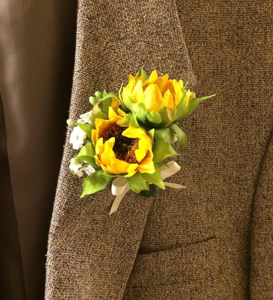 Hochzeit - double sunflower bud corsage boutonniere with baby's breath with bow in your choice of colors