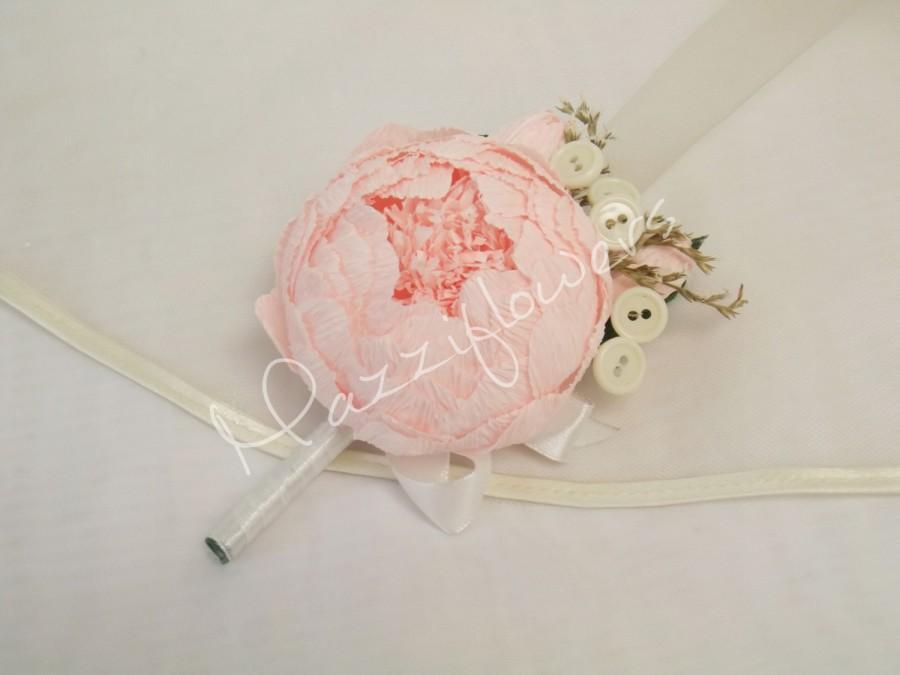 Hochzeit - Wedding boutonniere,paper flowers,bridal corsage,wedding paper flower, boutonniere paper, paper flowers peony,pink paper flower peony.