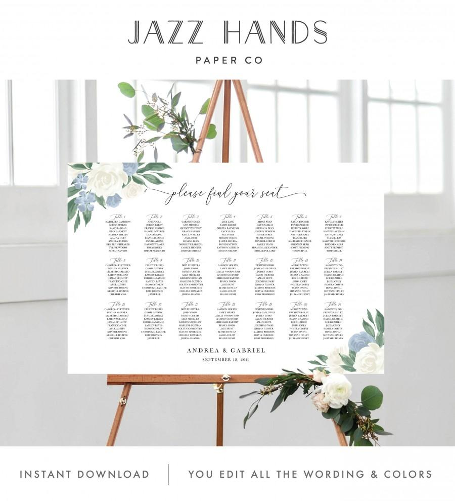Wedding - Wedding Seating Chart Template with Dusty Blue and White Floral Design, Fully Editable Colors and Wording with Templett, 137V8