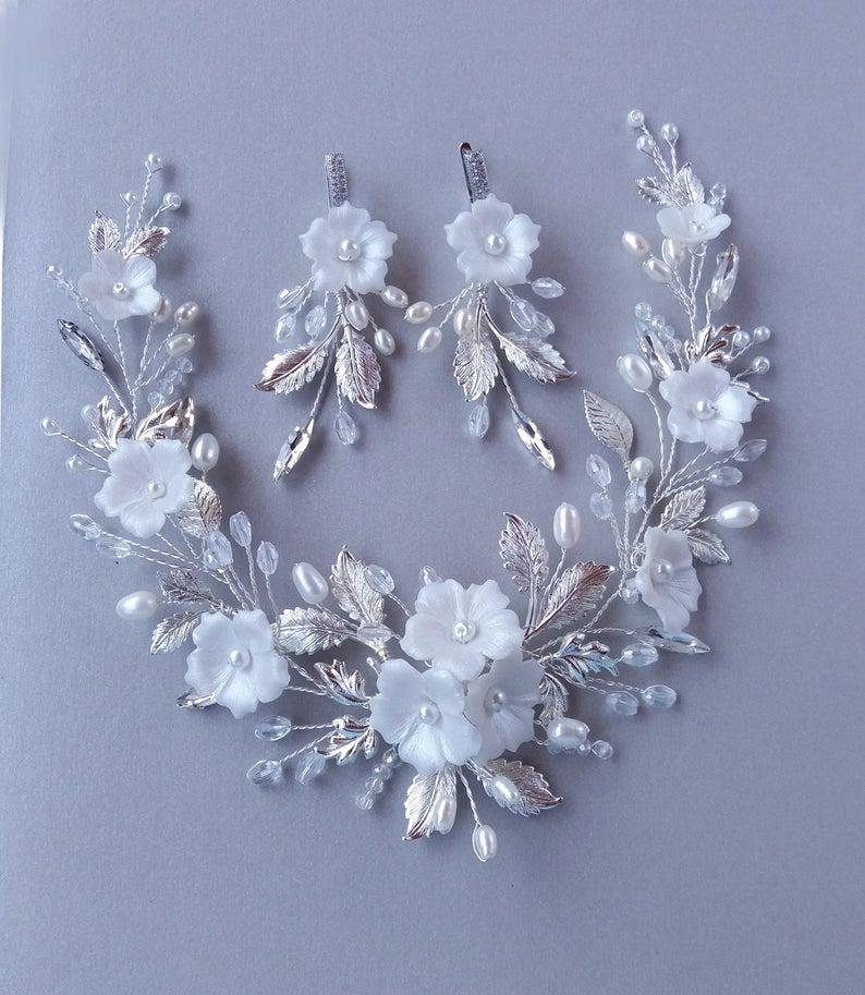 Wedding - Bridal set silver hair vine & earrings, Wedding Flower hair piece, Bohemian wedding Accessories Pearl hair vine