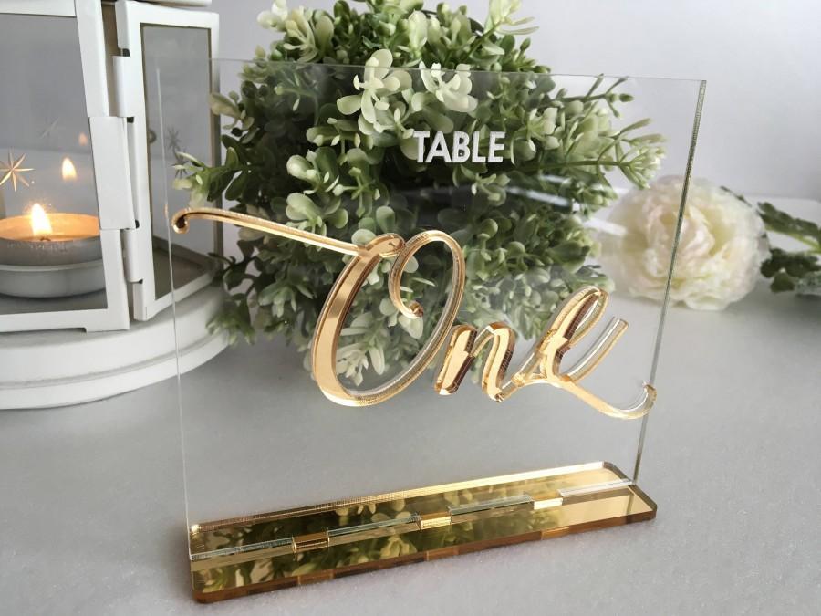 زفاف - Wedding Table Numbers Calligraphy Gold Mirror Clear Acrylic Wedding Signs Modern Centerpieces Luxury Decorations Number Holders Engraved Tag