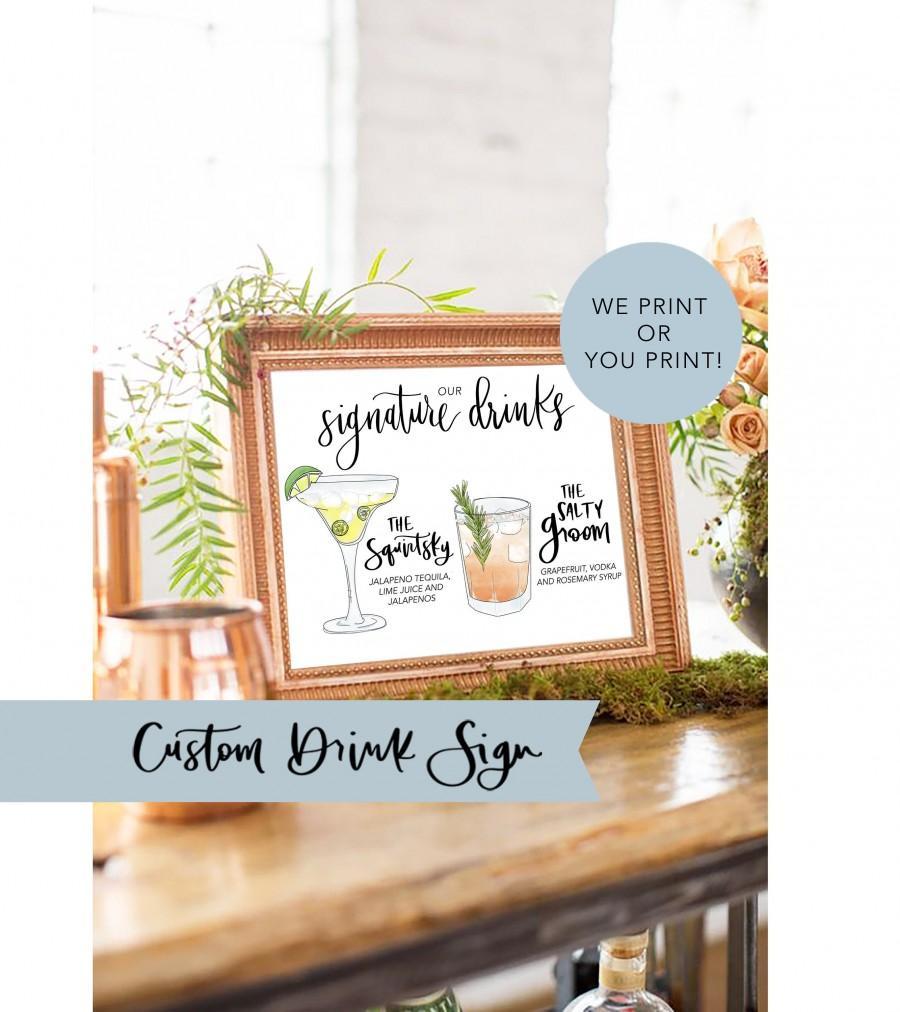 زفاف - His Hers Drink Digital Signature Drinks Sign Printable Signature Drink Sign PDF Wedding Illustrated Cocktail Sign Custom Drink Sign