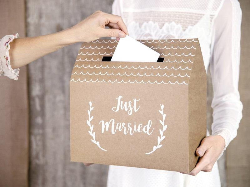 Mariage - Rustic Wedding Post Box, Just Married Wedding Cards Box, Wedding Supplies, Rustic Wedding Decorations, Kraft and White Script Post Box