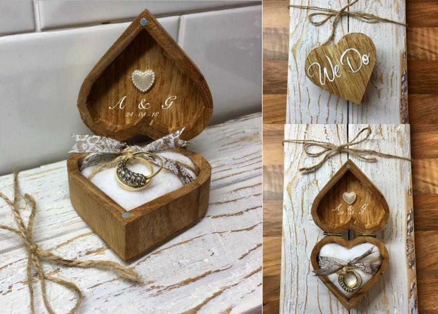 Wedding - We Do - Personalised Rustic Wedding Ring Box