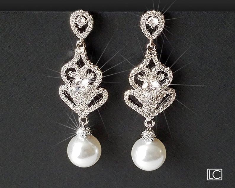 Wedding - Pearl Chandelier Earrings, Bridal Pearl Earrings, Swarovski White Pearl Silver Earrings, Statement Earrings, Bridal Jewelry, Dangle Earrings