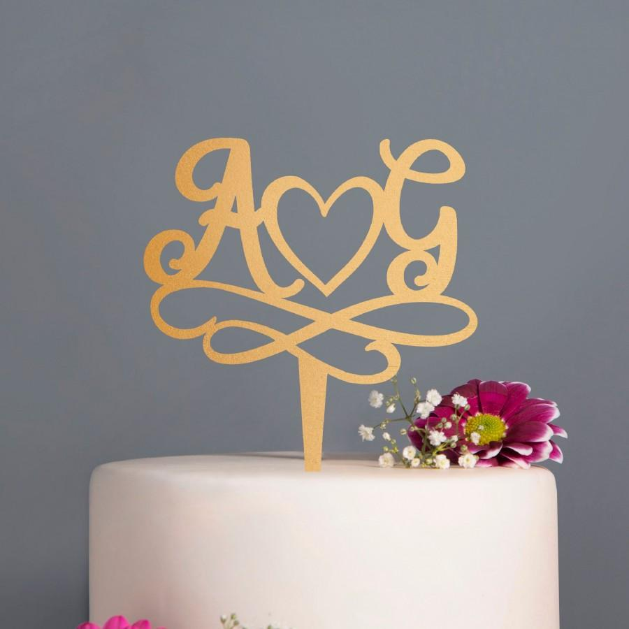 Mariage - Personalised Initial Calligraphy Wedding Cake Topper, Gold , Silver  Rose Gold wooden laser cut personalized