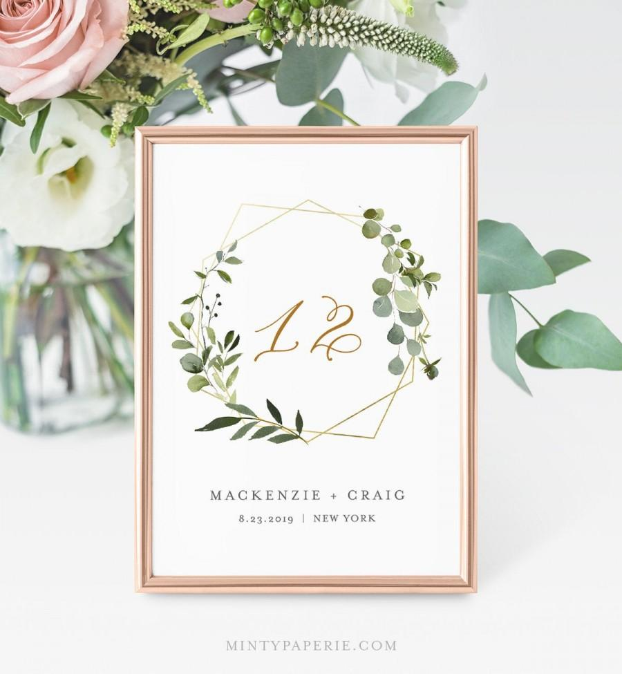 Mariage - Greenery Table Number Card, Wedding Table Number, INSTANT DOWNLOAD, 100% Editable Template, Gold Frame, Wreath, Wedding Decor  #056-129TC