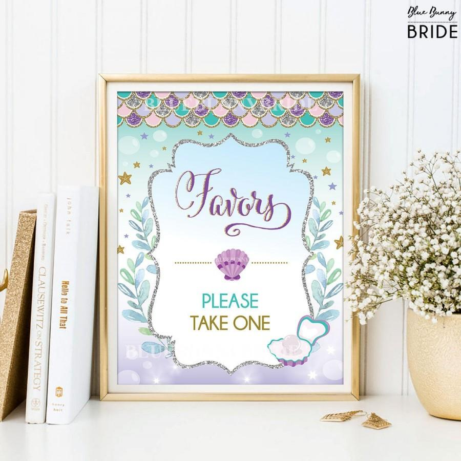 Mariage - Favors Printable Sign. Sea Mermaid Bridal Shower Sign. Beach Wedding Decoration. Purple Silver Gold Mint Dessert Table. Favors Sign. MER4