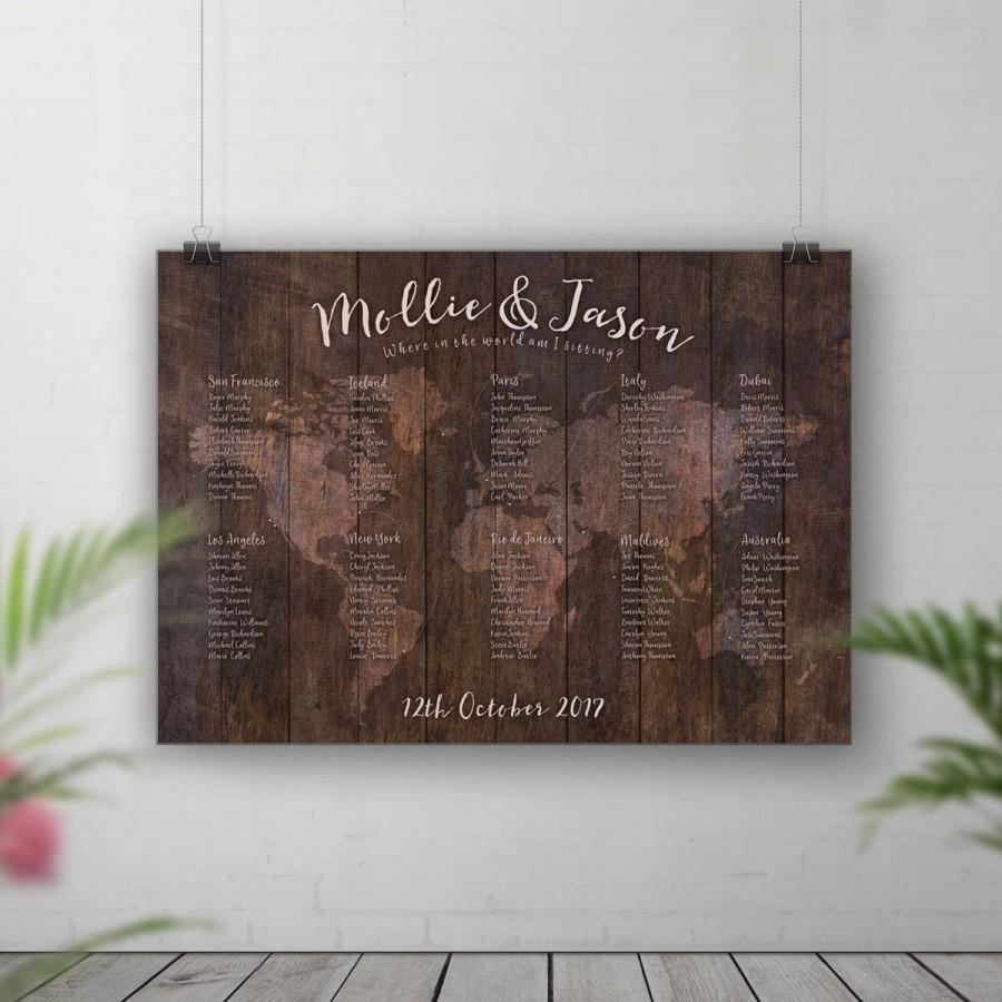 Mariage - Rustic Wedding Seating Chart, World Map Table Plan, Table Plan Map, Travel Theme Wedding, Adventure Wedding, Seating Plan Travel Table Decor
