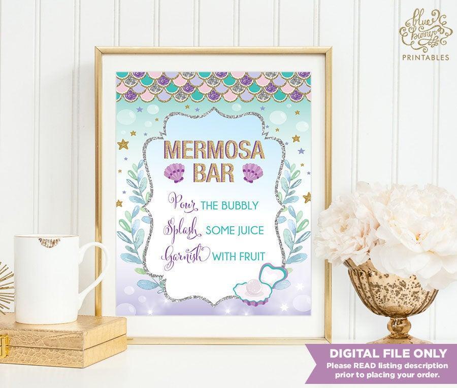 Mariage - MERMOSA BAR. Mermaid Bridal Shower Sign. Ocean Under Water Sea Coral Baby Shower Decoration. Purple Gold Wedding Mimosa Bar Sign. MER4