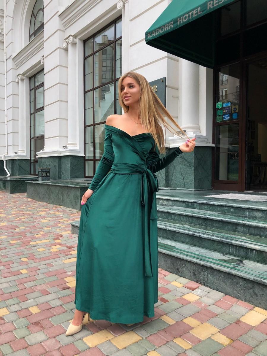 Mariage - Emerald Velvet dress, Wedding guest dress, High Slit Dress,Long Sleeve Dress, Bridesmaid Cleavage Dress, Long Maxi Dress, Off Shoulder Dress