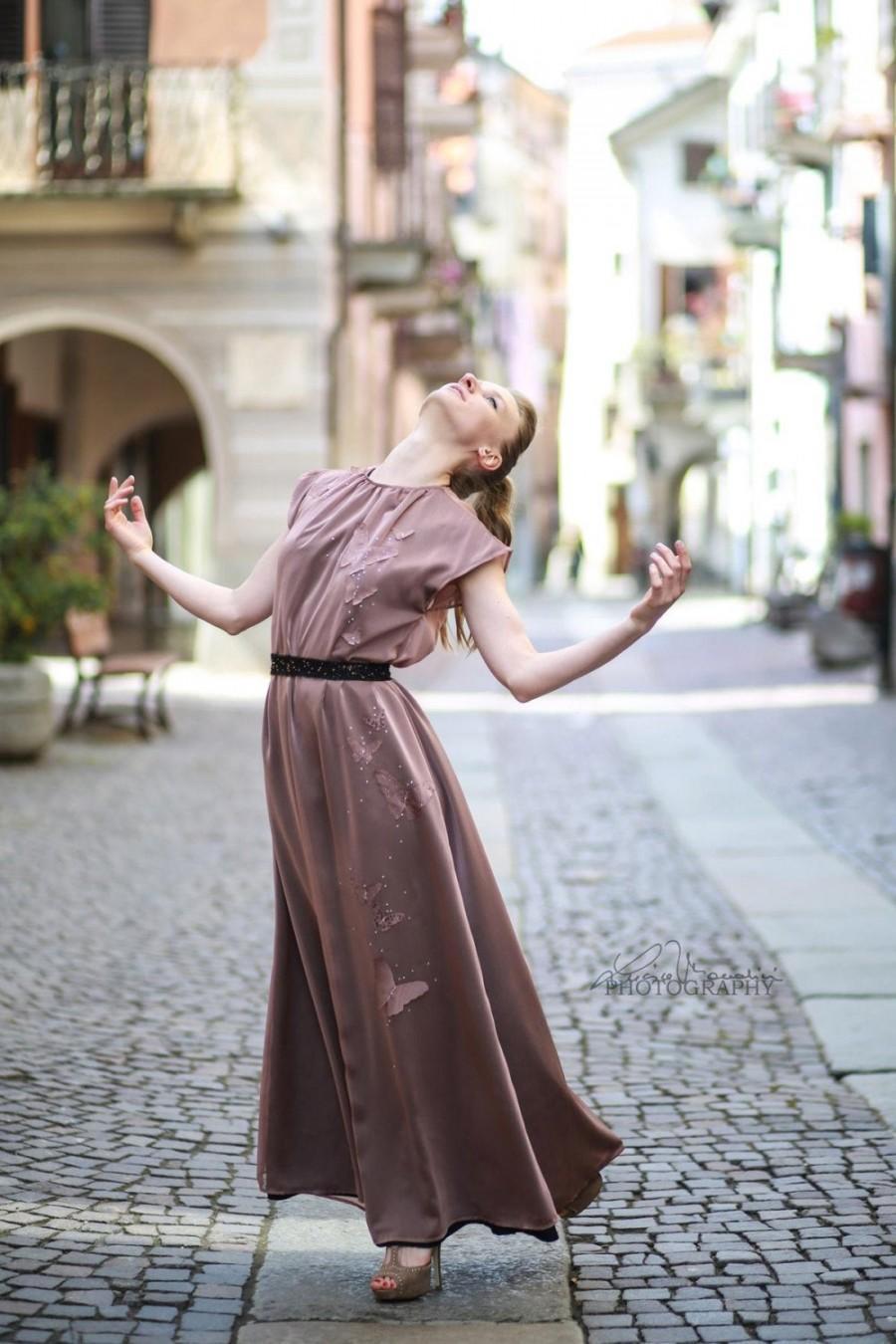 Wedding - Pink butterfly long formal dress, Alternative wedding dress, Elegant prom, One size dress, Bohemian gown