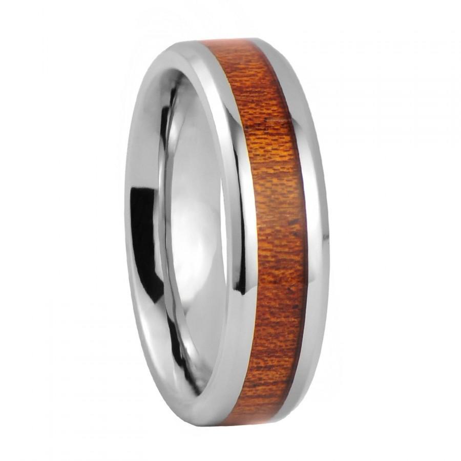 Mariage - Men's Wood Inlay Comfort Fit 6mm Titanium Wedding Band