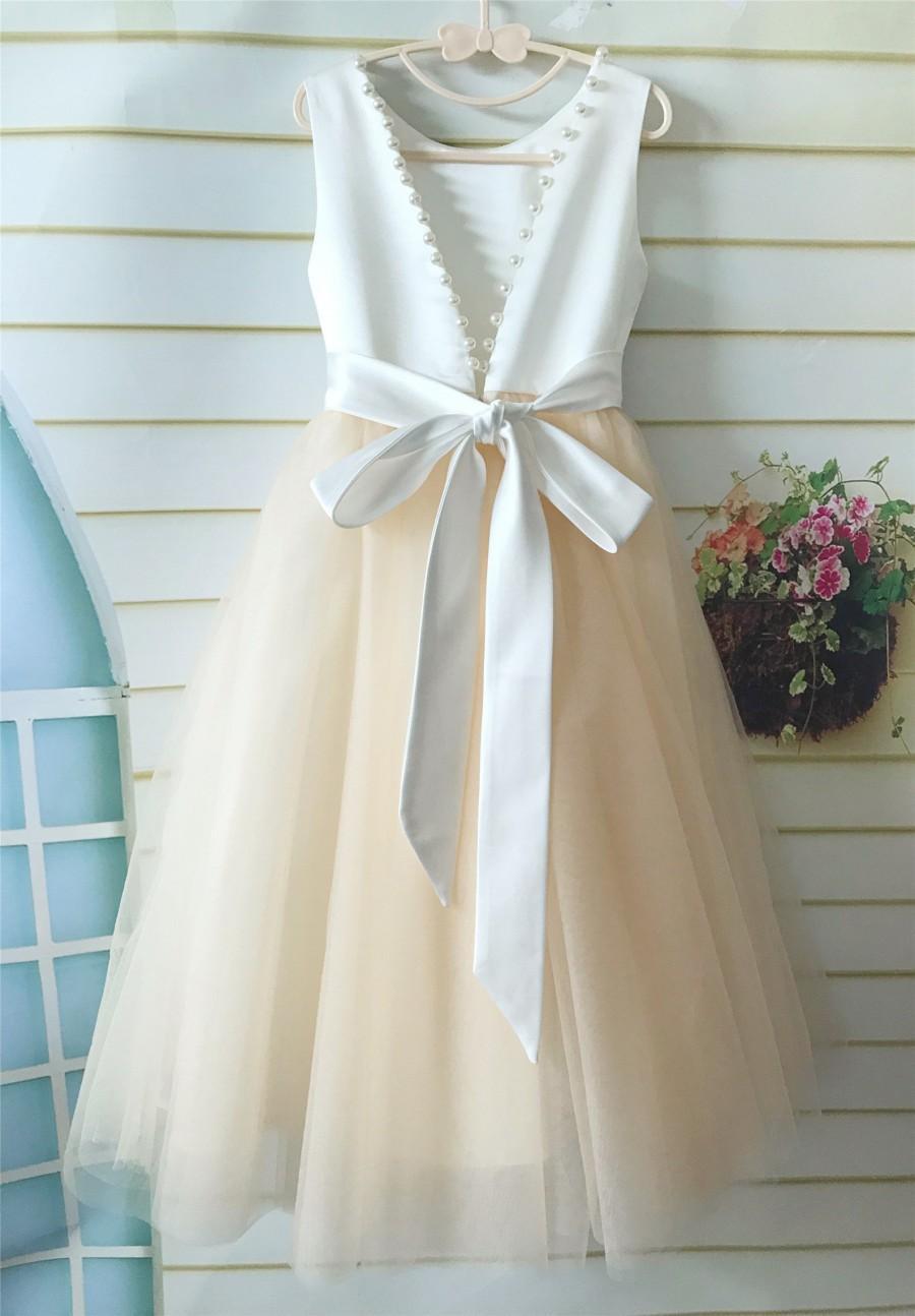 Wedding - Ivory Champagne Flower Girl Dress, V Back Pealed Tulle Wedding Girl Dress Floor length, Tutu Girl Dress, Communion Dress