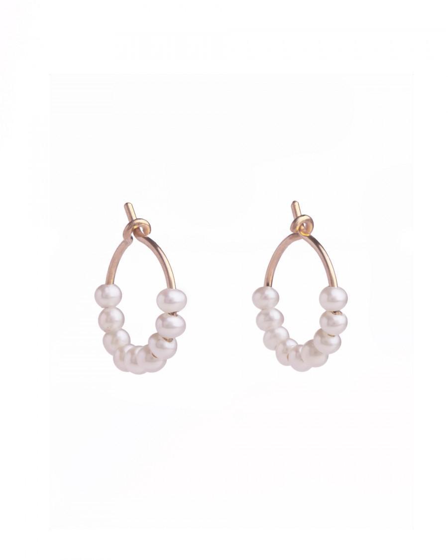 Wedding - Baby Pearl Hoops - Natural Pearl Earrings - Bridesmaid Gift - Huggie Hoops - Dainty Hoop Earrings - Cartilage Hoops -  EAR010