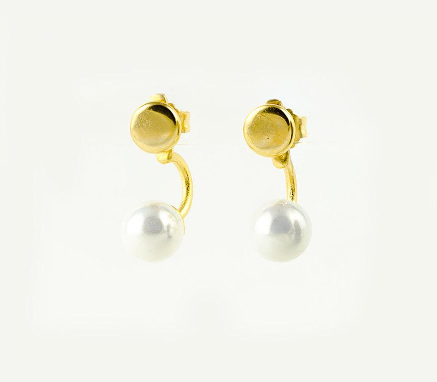 Mariage - White Pearl Ear Jacket-Drop Stud Earrings- Bridesmaid Gift- Floating Earrings- Stud Earrings-Bridal Earrings- Pearl Jewelry-EJK004WHP
