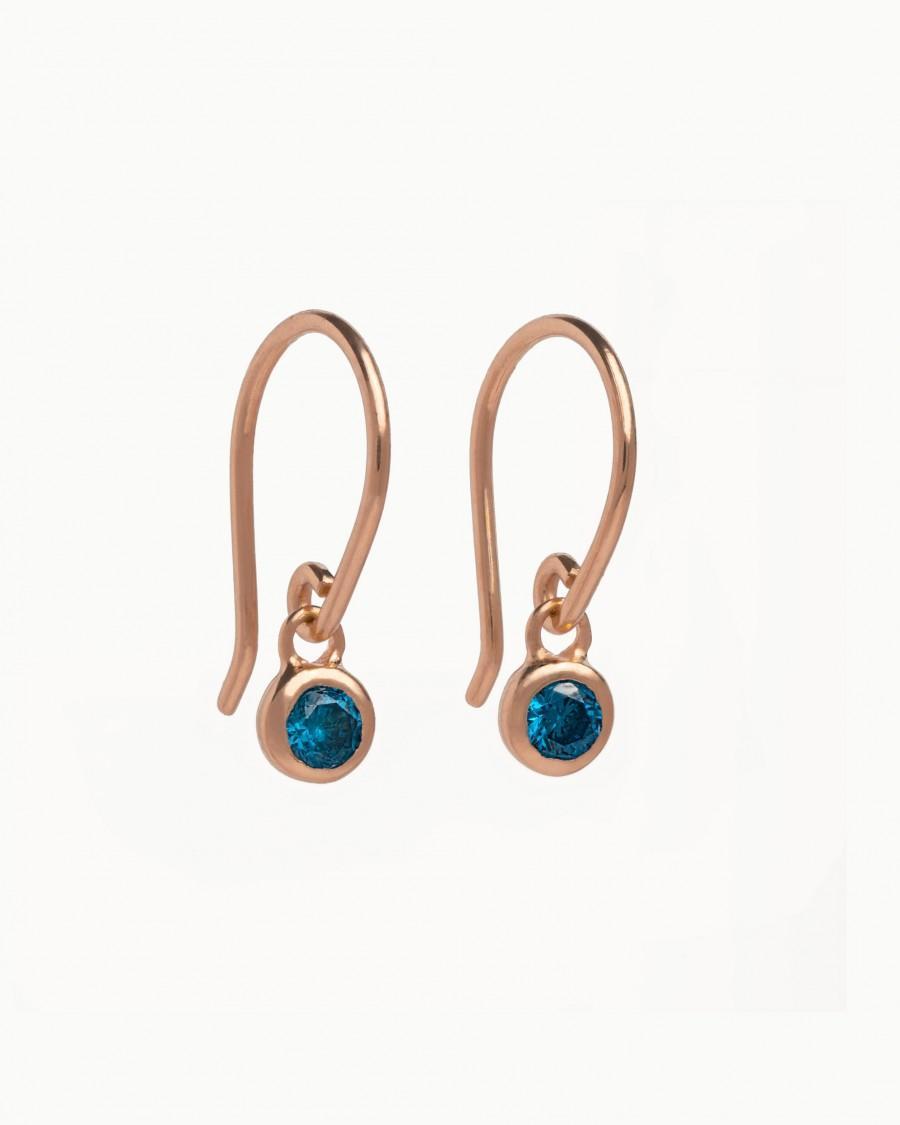 Mariage - Topaz  Hook Earrings-Bridesmaid Gift- Blue Topaz Earrings- Birthstone Earrings-Minimalist Earrings- Bohemian Earrings- DGE003SBT