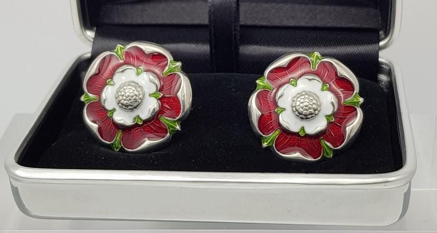 زفاف - Best man cufflinks Vintage Enamel Tudor Rose cuff links,Rugby cufflinks