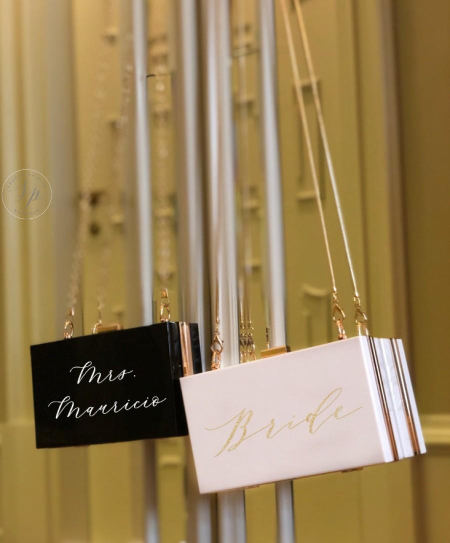 Mariage - Personalized Acrylic Clutch, Box Clutch, Custom Mrs. Clutch, Bridal Clutch, Custom Bride Clutch, Mrs. Purse, Acrylic Purse, Acrylic Clutch