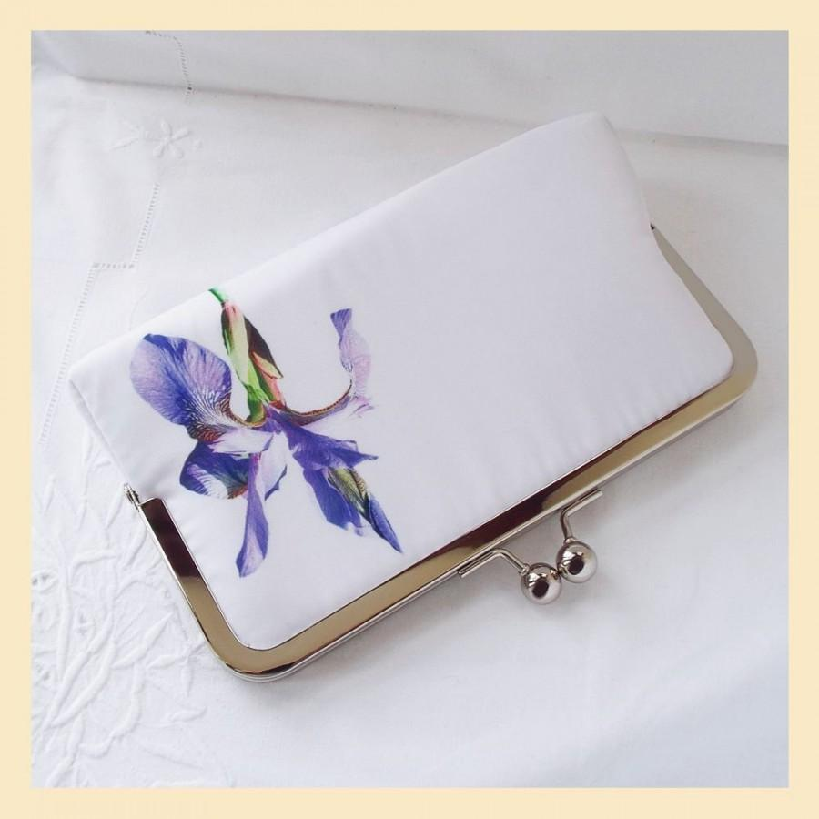 Mariage - Wedding clutch bag in white, purple and lilac, mother of the bride gift purse with iris flower