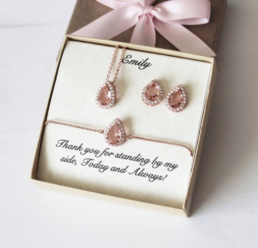 زفاف - Pink Morganite bridesmaid earrings, bridesmaid gift, Morganite earrings necklace bracelet set, Bridesmaid jewelry set, Pink Morganite set