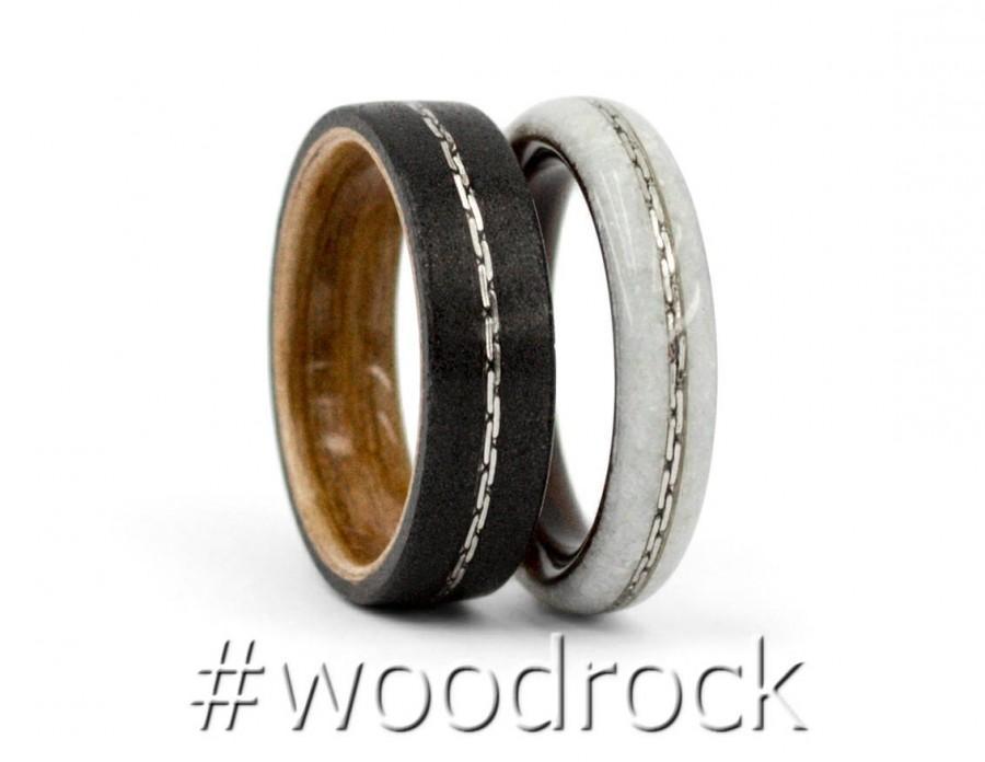 Wedding - Wedding Ring Set Couple Promise Ring Couple Ring Set His And Hers Wedding Band Set Bentwood Wood Ring Set His Her Wedding Ring Black Sand