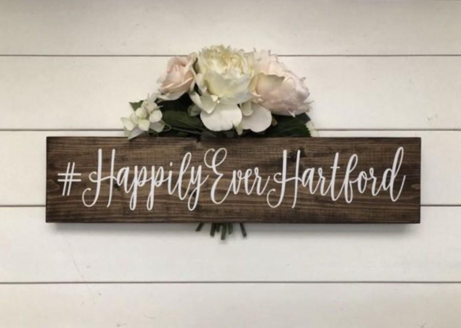 Mariage - Wedding Hasthtag Sign, Wood Sign Rustic Wedding Decor, Event Photo Prop