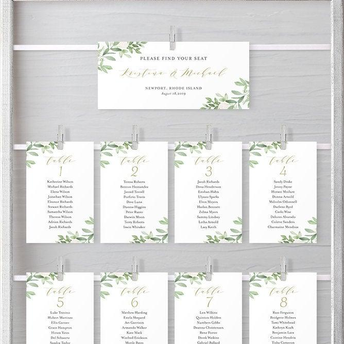 Wedding - Greenery Wedding Seating Cards Template - Watercolor Greenery and White Flowers Individual Seating Chart Sign - Printable, Editable GWF23