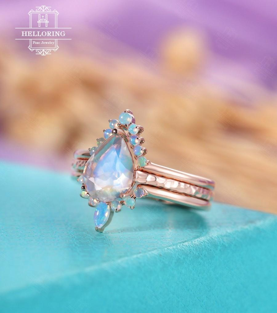 زفاف - Moonstone engagement ring, set rose gold, Pear shaped wedding ring women, Marquise opal, hammered, Anniversary gift for her Promise jewelry