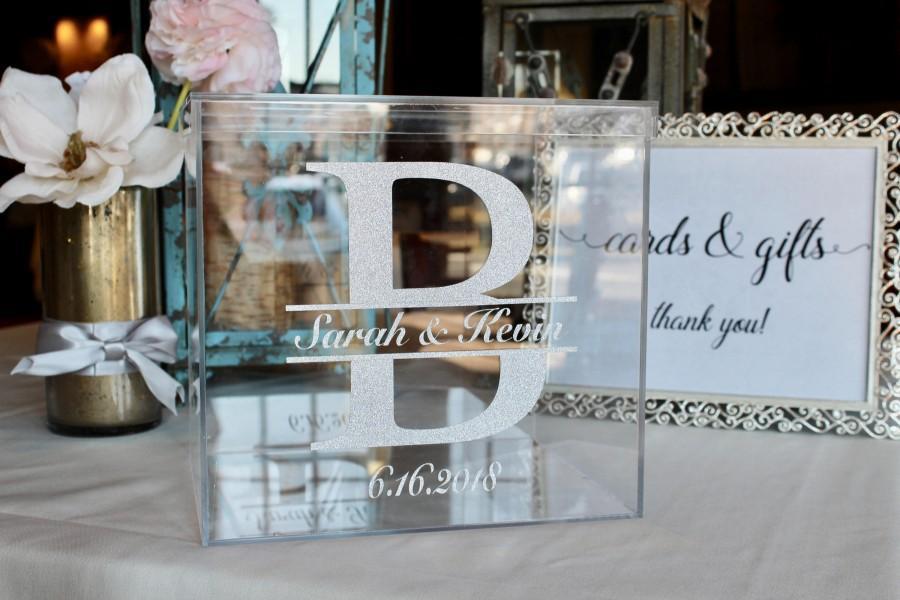 Mariage - Personalized Wedding Card Box I Acrylic Card Box I Wedding Card Box with Lid