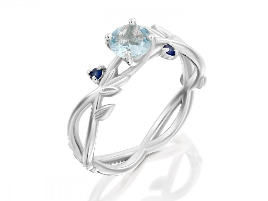 Hochzeit - Leaves Engagement Ring, 18k Gold Flower Ring, Aquamarine and Sapphire Bridal Ring, Unique Engagement ring,