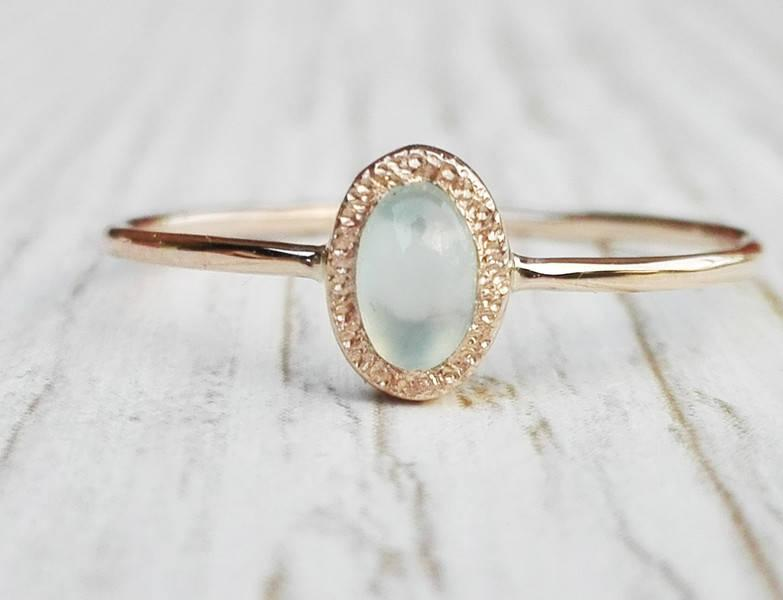 Mariage - Rose Gold Chalcedony Ring, Aqua Chalcedony, Dainty Gold Ring With Hidden Heart, Solitairy Gemstone Ring, Handmade